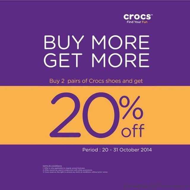 โปรโมชั่นซื้อรองเท้า Crocs 2 คู่ รับส่วนลดทันที 20% (20 – 31 ต.ค.57)