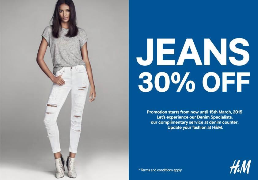 โปรโมชั่น H&M JEANS 30% OFF (26 ก.พ.- 15 มี.ค.58)